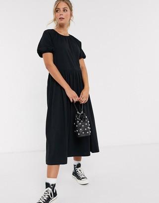 ASOS DESIGN midi smock dress in black