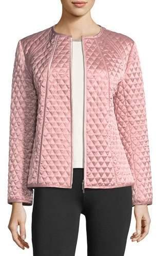 Joan Vass Quilted Satin Zip Jacket