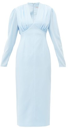 Emilia Wickstead Iliana Gathered Crepe Midi Dress - Womens - Light Blue