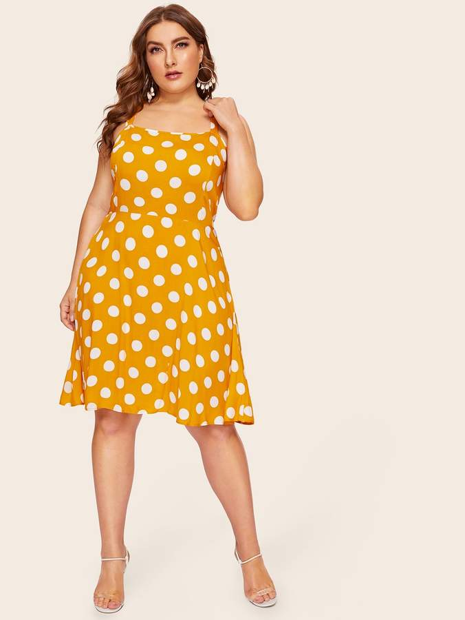 Shein Plus Polka Dot Criss Cross Cami Dress