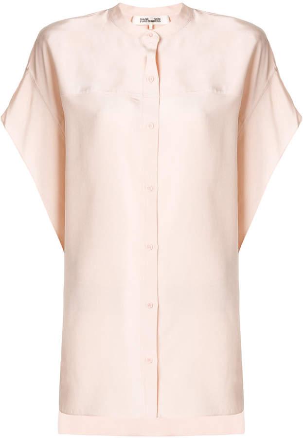 Diane von Furstenberg longline mandarin collar shirt