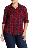 Angie Plaid Button Up Blouse (Plus Size)