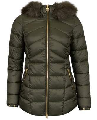 Barbour International Hampton Fur Trim Hooded Quilted Jacket Colour: G
