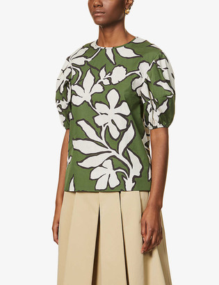 S Max Mara Crochet floral-print cotton top