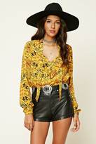 Forever 21 Tie-Neck Ornate Print Bodysuit