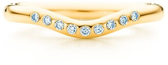 Tiffany & Co. Elsa Peretti wedding band ring with diamonds in 18k gold, 2 mm wide - Size 6 1/2