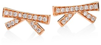 Hueb Origami Diamond 18K Rose Gold Stud Earrings