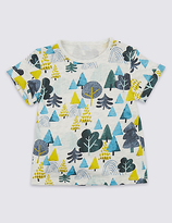 Marks and Spencer Pure Cotton Tree Print T-Shirt