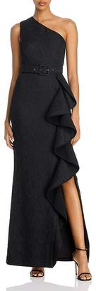 Rebecca Vallance Greta Ruffled One-Shoulder Gown