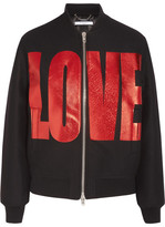 Givenchy Metallic Printed Bomber In Black Wool-blend Felt - FR34