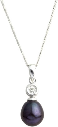 A B Davis 9ct White Gold Diamond Pearl Pendant Necklace