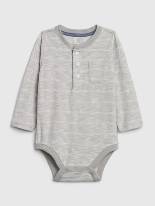 Gap Baby Chambray Trim Henley Bodysuit