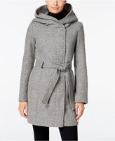 Calvin Klein Petite Asymmetrical Hooded Walker Coat, Only at Macy's