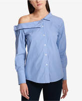 DKNY Striped One-Shoulder Button-Front Shirt
