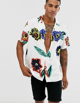 Asos Design DESIGN relaxed fit floral shirt in white