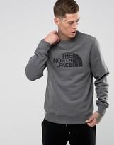 The North Face Drewpeak Crew Neck Sweatshirt Chest Logo In Mid Grey Marl