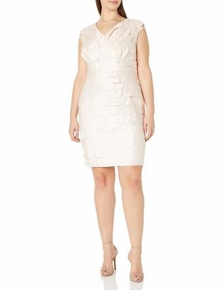 London Times Women's Plus Size Shimmer Shutter Sheath Dress with Floral Applique