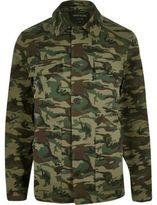 River Island MensGreen camo worker jacket