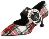 Miu Miu Tartan Plaid Buckle 55mm Pump, White