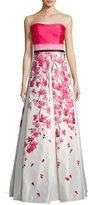 David Meister Strapless Solid & Floral Satin Gown, Pink/White
