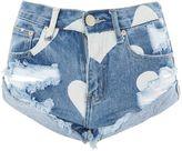 Glamorous **Heart Print Denim Shorts