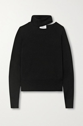 Bassike Cutout Merino Wool Turtleneck Top - Black