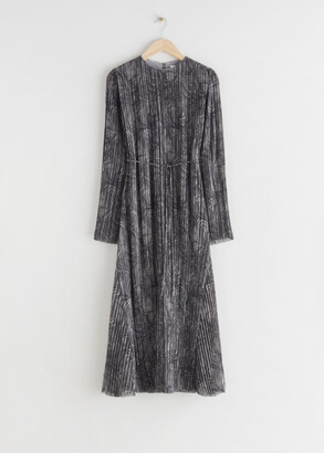 And other stories Pleated Belted Floaty Maxi Dress