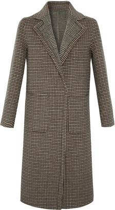 Gerard Darel Straight-cut Houndstooth Wool Preston Coat