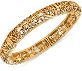 2028 Gold-Tone Filigree Stretch Bangle Bracelet
