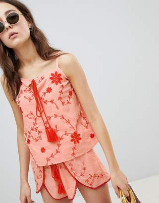 Glamorous Top With Tassel Tie Front In Contrast Embroidery Co-Ord-Pink
