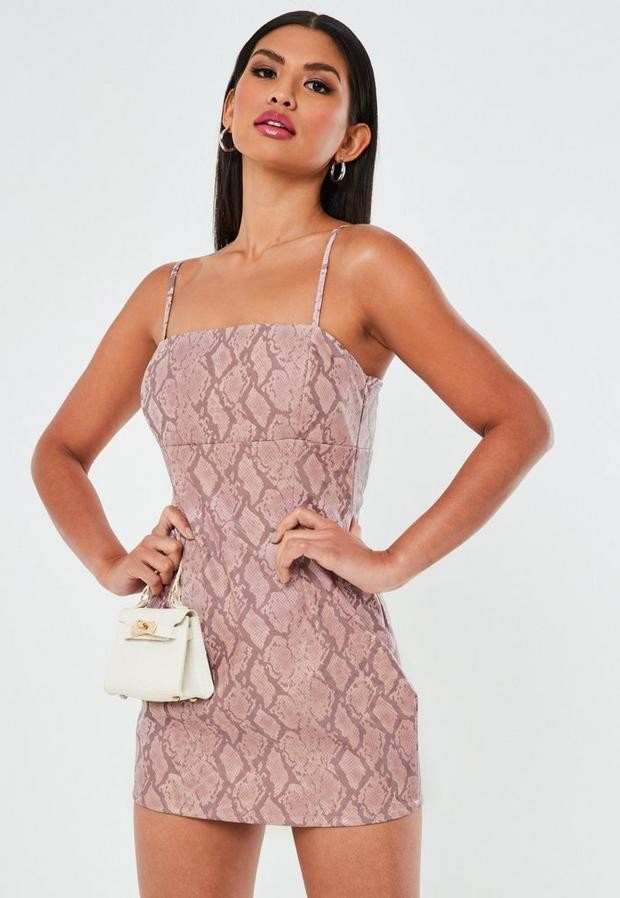 Missguided Petite Pink Snake Print Faux Leather Mini Dress