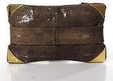 Devi Kroell Brown Gold Metallic Stingray Clutch Handbag