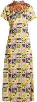 Miu Miu Embellished short-sleeved motif-print crepe gown