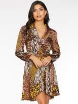 Quiz Satin Animal Wrap Dress with Frill Hem And Tie Belt - Brown/Mustard