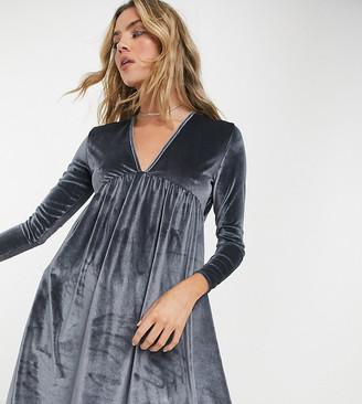 Rokoko relaxed smock dress in slate grey velvet
