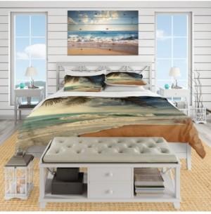 Design Art Designart 'Beautiful Tropical Beach With Palms' Beach Duvet Cover Set - King Bedding