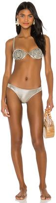 Adriana Degreas Metallic Flowers Bikini Set