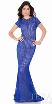 Terani Couture Geometric Lace Beaded Evening Dress