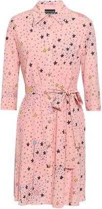 Boutique Moschino Belted Printed Silk-blend Mini Shirt Dress