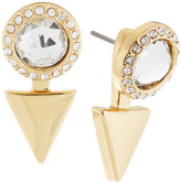 Rebecca Minkoff Golden Crystal Arrow Front-Back Drop Earrings