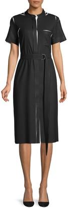 HUGO BOSS Decria Printed Silk Short Sleeve Shirtdress