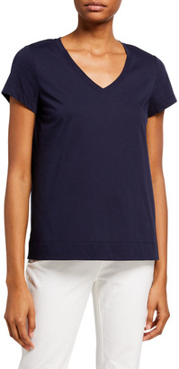 Lafayette 148 New York V-Neck Short-Sleeve Modern Cotton Jersey Tee