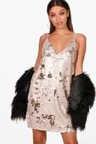 boohoo Maisy 2 Tone Sequin Cami Dress