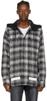 Off-White Black and White Diagonal Check Hooded Shirt
