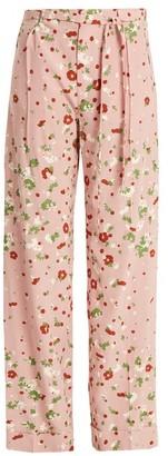 Valentino Daisy Print Silk Crepe De Chine Trousers - Womens - Pink Print