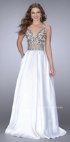 La Femme A-line Two Piece Beaded Mikado Evening Gown
