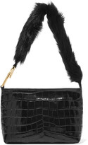 Elizabeth and James Finley Faux Fur-trimmed Croc-effect Leather Shoulder Bag - Black
