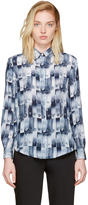 Versus Blue Silk Safety Pin Print Shirt