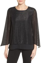 Chaus Women's Clipped Jacquard Double Layer Blouse