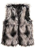 H&M Faux Fur Vest - Black/white melange - Ladies